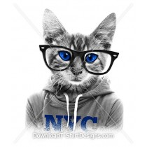 Quirky Nerd Kitten Cat Hoodie Sunglasses
