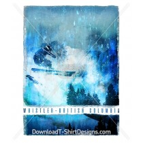 Blue Paint Effect Whistler Mountain Ski Slope Poster