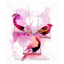 Pretty Feminine Watercolor Birds on Swings
