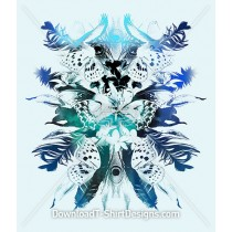 Mirrored Birds Feathers Butterflies Flowers Collage