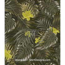 Olive Khaki Tropical Palm Leaf Seamless Pattern