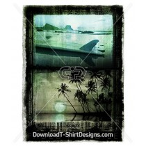 Grunge Tropical Island Palm Tree Surfboard