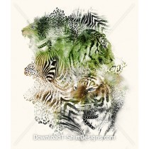 Abstract Tiger Head Leopard Skin Collage