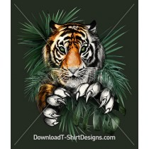 Fierce Jumping Tiger Jungle Leaves