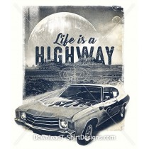Retro Muscle Car Desert Highway Slogan Quote