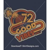 Retro 70's Good Vibes Only Slogan Quote