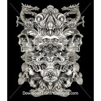 Ancient Tribal Skull Dragon Collage