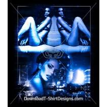 Neon Glitch City Vision Sexy Women