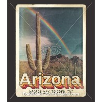 Retro Tourist Postcard Arizona Desert Cactus