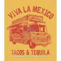 Retro Viva La Mexico Tacos Tequila Food Truck