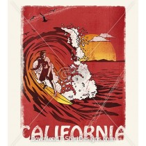 Retro California Surf Wave Poster
