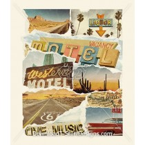 Retro Road Trip Photo Torn Paper Collage