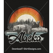 Retro Alaska Grizzly Bear Tourist Poster