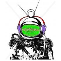 Space Astronaut Headphones Sound Waves