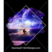 Space Galaxy Night Surfer Ocean Waves