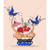 Cute Retro Cupcake BlueBird Cherry Ribbon