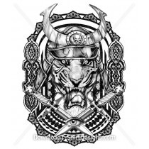 Viking Celtic Tiger Animal Head Tattoo