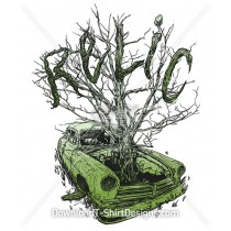 Old Vintage Relic Car Tree Sketch