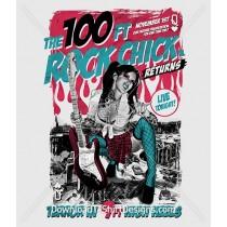 Punk Music Poster Guitar Flames Woman