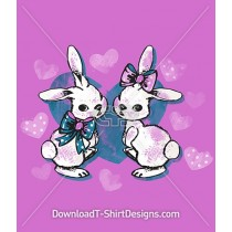 Watercolor Bunny Rabbit Hearts and Bows