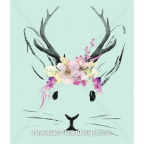 Watercolor Bunny Rabbit Jackalope Spring Flowers