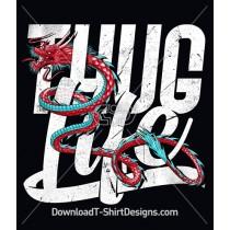 Japanese Oriental Dragon Thug Life Slogan Quote