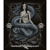 Oriental Mythical Dragon Woman Decorative Frame