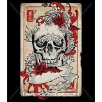 Japanese Oriental Dragon Skull Tattoo Playing Card