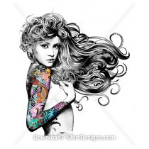 Flowing Hair Illustrated Sexy Woman Japanese Tattoo Sleeve