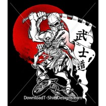Rising Sun Japanese Skeleton Samurai BMX Rider