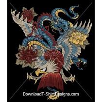 Japanese Dragon Flower Eagle Snake Tattoo