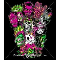 Clown Devil Dice Flame Comic Cartoon Tattoo