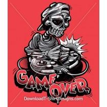 Game Over Skeleton Skull Cartoon Gamer