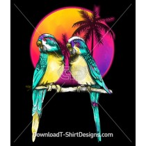 Retro Sunset Palm Trees Budgerigar Birds