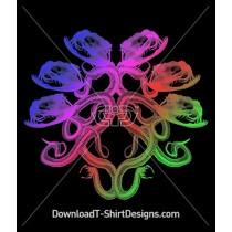 Gradient Serpent Skeleton Mandala