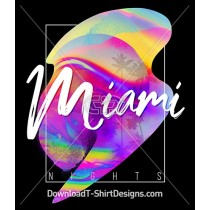 Abstract Gradient Miami Nights Palm Tree Poster