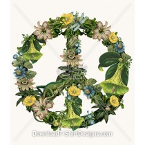 Vintage Botanical Nature Illustration Peace Sign