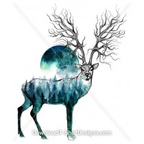 Stag Deer Tree Root Horn Forest Illustration