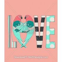 Parrot Bird Pattern Cute Love Typography