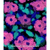 Bold Watercolor Floral Outline Pattern Repeat