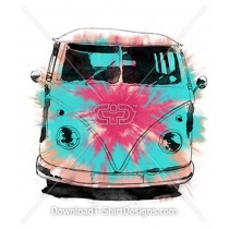 Tie Dye Water Colour Retro Surf Van Car