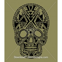 Tribal Aztec Pattern Skull