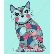 Tribal Ethnic Pattern Cute Patchwork Cat