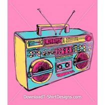 Hand Drawn Retro Pop Art Boom Box
