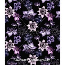 Purple Winter Dark Floral Seamless Pattern