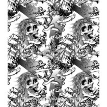 Pirate Ship Tattoo Skull Seamless Pattern