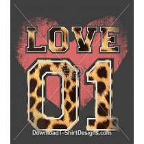 Animal Print Varsity Number Love Heart