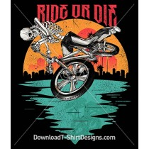 Ride or Die BMX Bike Skeleton Sunset City