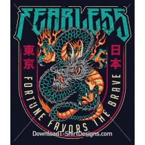 Fearless Slogan Quote Japanese Dragon