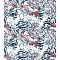 Japanese Koi Fish Tattoo Seamless Pattern